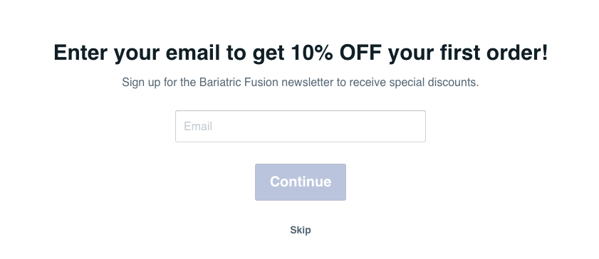 Bariatric Fusion quiz opt in incentive