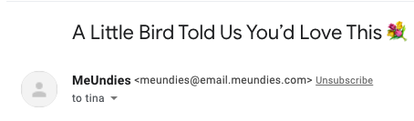 Subject line from meundies with product recommendation