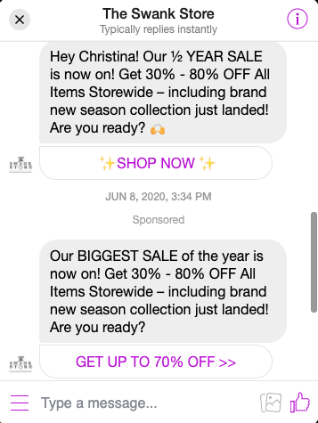 Swank Store Messenger Sale Example