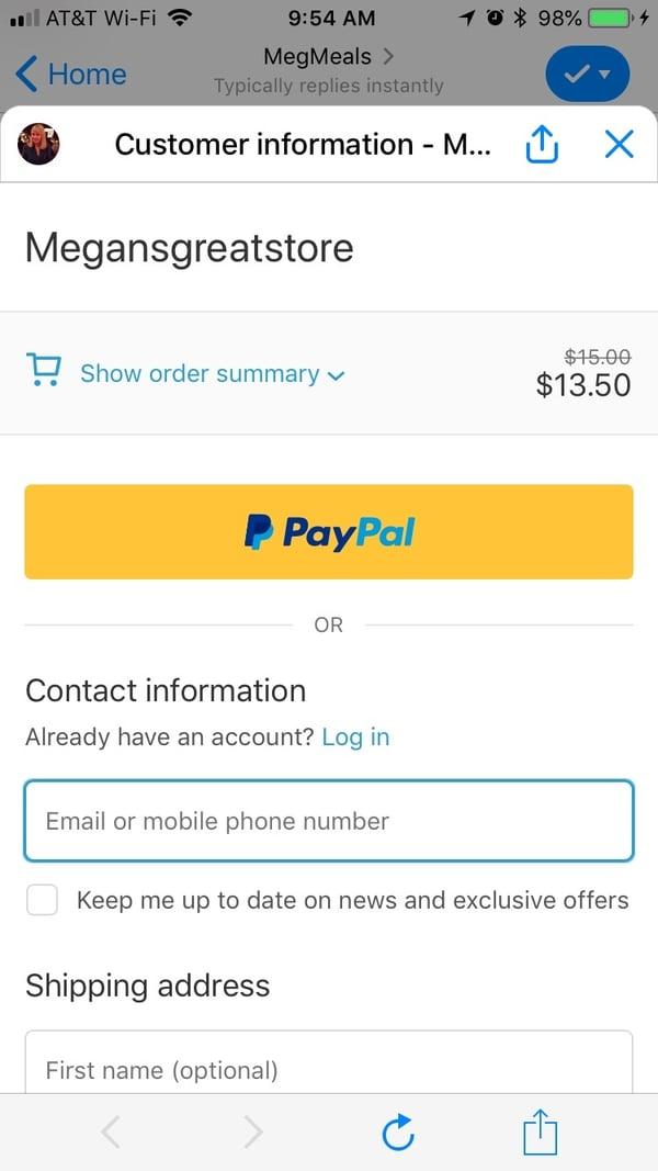 abandoned cart discount facebook messenger applied