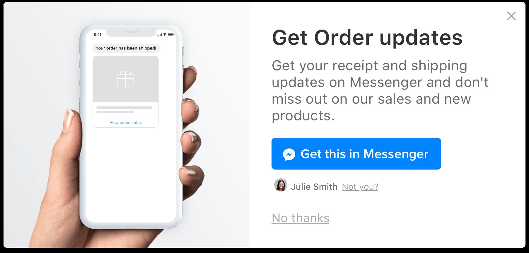 add to cart pop-up facebook messenger