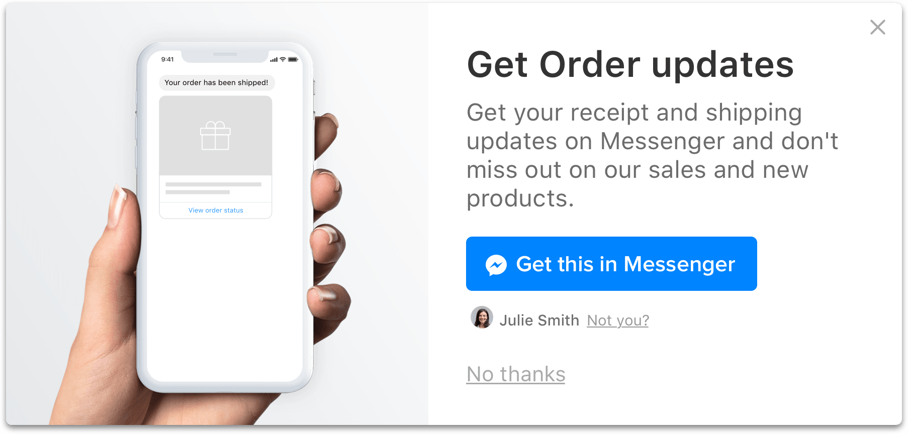 add to cart pop-up facebook messenger