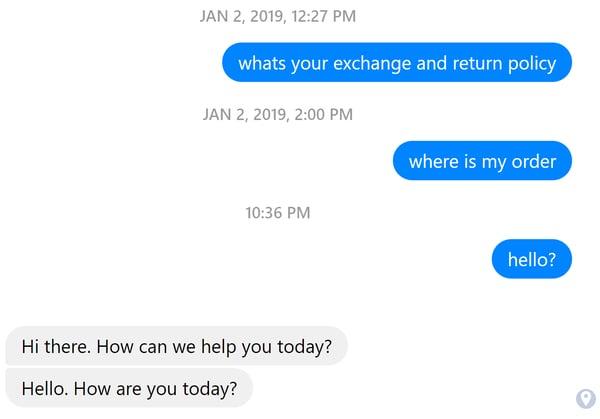 facebook messenger incorrect response