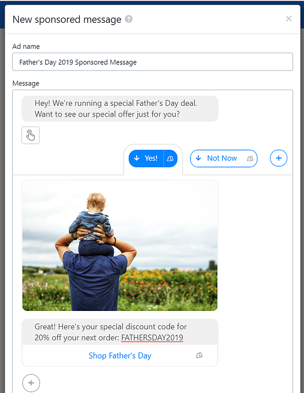 fathers day sponsored message facebook messenger